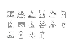 16 Conference Line Icons