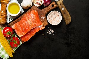 Healthy food concept, fish, top view