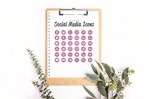 36 Pink Glitter Social Media Icons