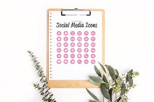36 Light Pink Glitter Icons