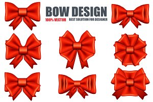 Realistic Red Bows Set