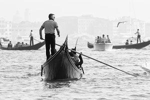 Venice, Italy - October 06, 2012: Bella Italia series. Venice - the Peairl of Italy. Gondolas in Grand Canal near Piazza San Marco, Venice, Italy.