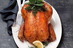Roasted whole chicken with herbs and lemon