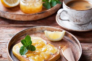 Low-carb gluten free homemade bread toast with butter and lemon jam