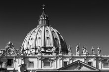 Dome of St Peter's Basilica in b&w, Vatican City, Rome, Italy