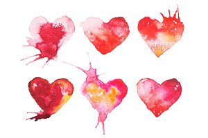 Watercolor painted red heart hand drawn illustration.