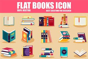 Flat Books Icons
