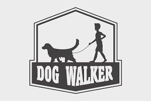 Dog walker logo, label or badge