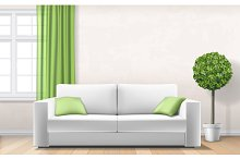 modern interior with sofa window green curtain