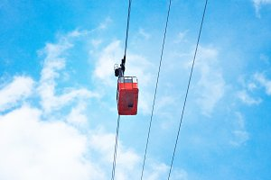 Various cable cars in air