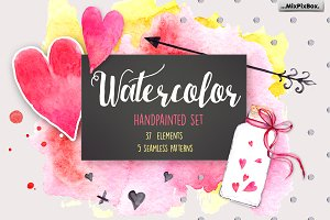 Hearts and Love Watercolor Clipart