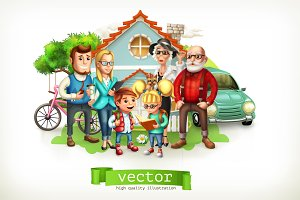 Family. House. 3d vector