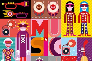 Music - pop art vector illustration