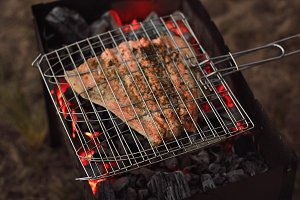 Outdoor grilling salmon
