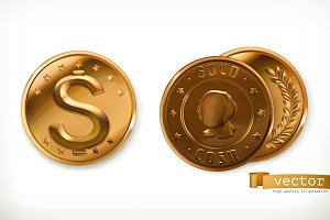 Golden coins. Money 3d vector icons