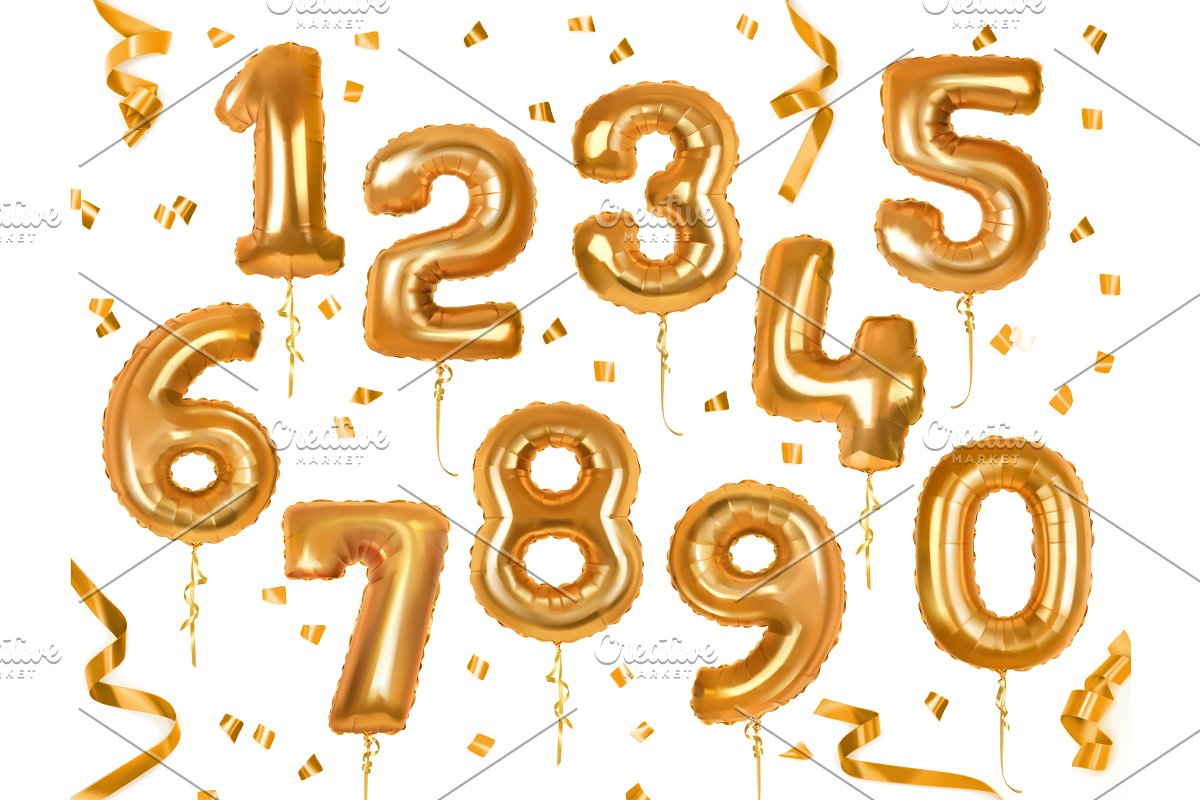 Toy balloons in the form of numbers