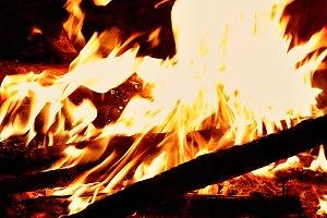 Close shot on fire flames