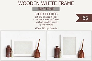 White wooden frame with inkstand
