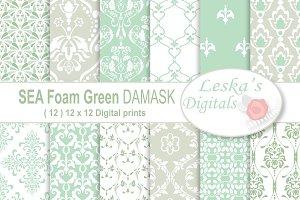 Sea Foam Green Damask Digital Paper