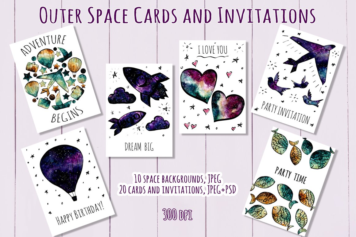 Outer Space Cards and Invitations ~ Card Templates ~ Creative Market