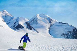 Winter snowboarding activity
