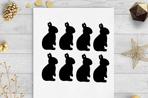 bunny easter gift tags svg & dxf