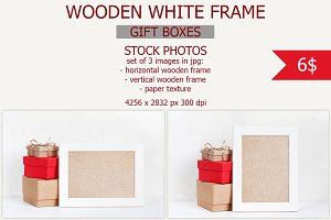 Wooden white frame with gifts