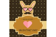 Valentine's day card with bunny