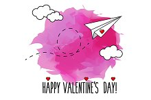 Valentine card with paperplane