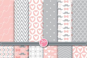 Valentine or Wedding Digital Paper