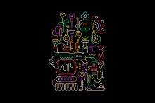 Neon Colors Abstract Art Design