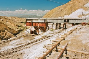 Old salt mine in mountains
