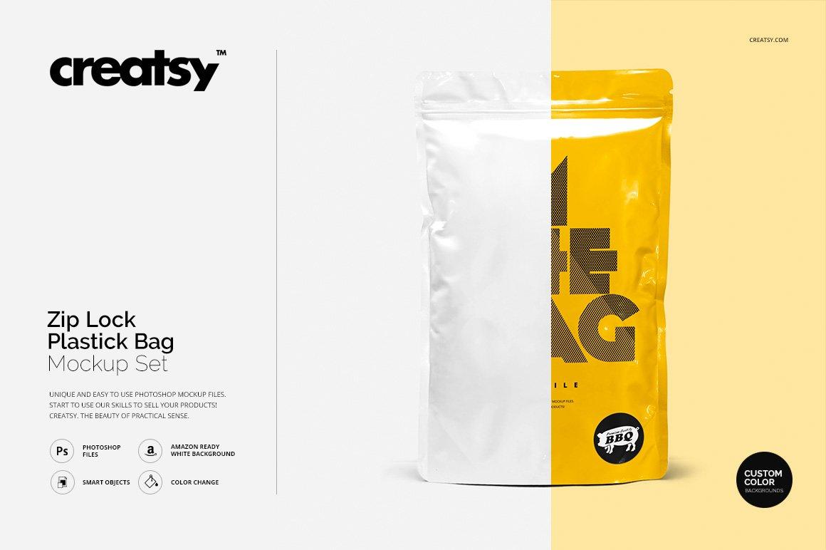 Zip lock plastic bag mockup set product mockups creative market reheart Images