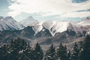 Winter landscape of snowy mountains.
