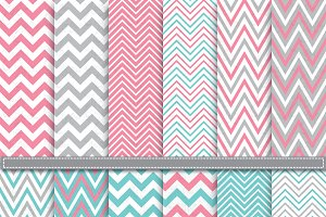 Aqua & Pink Chevron Digital Paper