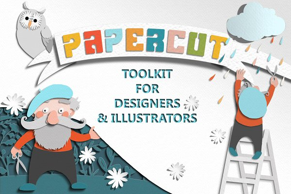Illustrator Actions: Watercolor Nomads - Papercut Toolkit for Photoshop