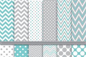 Polka Dot and chevron Digital paper