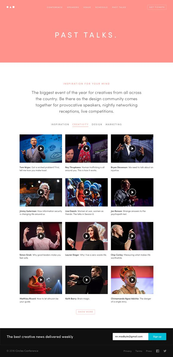 Conference Event Website Template HTML CSS Themes Creative Market