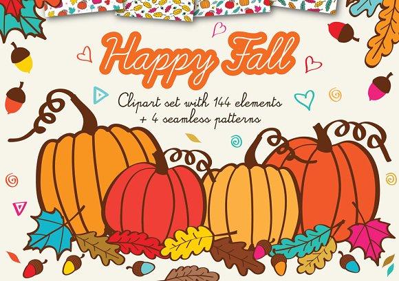 Happy Fall Clipart Handmade Graphics - Illustrations