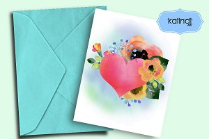 Heart Watercolor Printable
