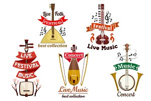Musical instruments icons for music fest, concert