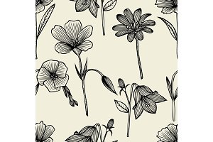 Doodle flowers seamless pattern