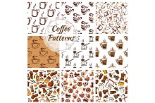 Coffee vector seamless patterns set