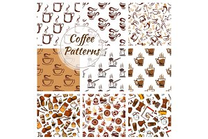 Coffee vector seamless patterns set