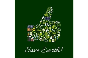 Save Earth nature protection thumbs up symbol