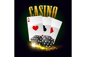 Casino vector poster. Cards, dices