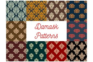 Damask floral seamless patterns set