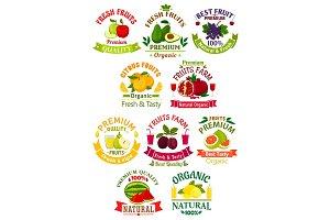 Fresh fruit juice icons, signs, badges set
