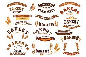 Bakery shop and pastry signs