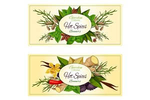 Hot spices and herbs vector banners set